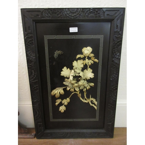 2429 - Pair of Chinese black lacquered wall plaques inset with carved bone flowers, 28ins x 18.5ins (with d...