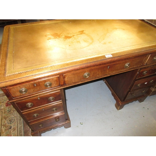 2432 - 19th or early 20th Century mahogany twin pedestal desk with a green leather inset top above nine dra...