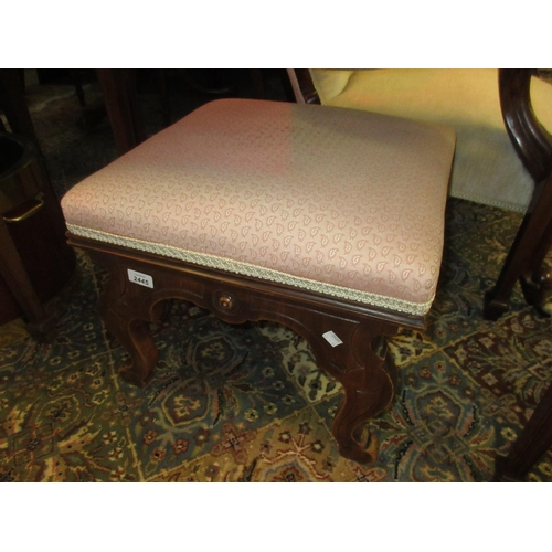 2445 - Victorian square upholstered stool on shaped supports with pierced fretwork friezes...
