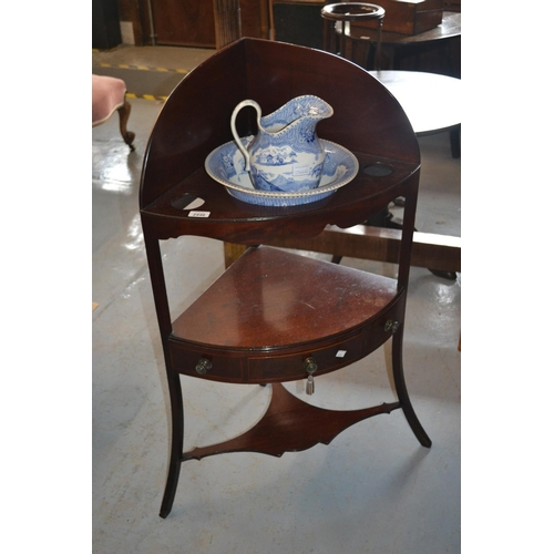 2446 - George III mahogany and line inlaid corner washstand together with a 19th Century English blue and w...