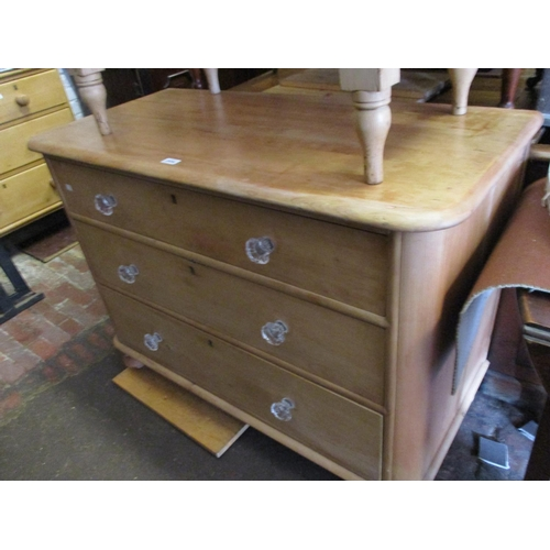2454 - 19th Century stripped and polished pine straight front chest of three graduated drawers with glass k...