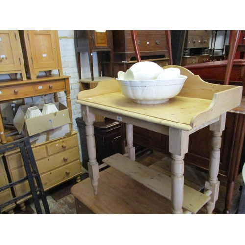 2455 - 19th Century stripped and polished pine washstand together with a three piece pottery jug and basin ...