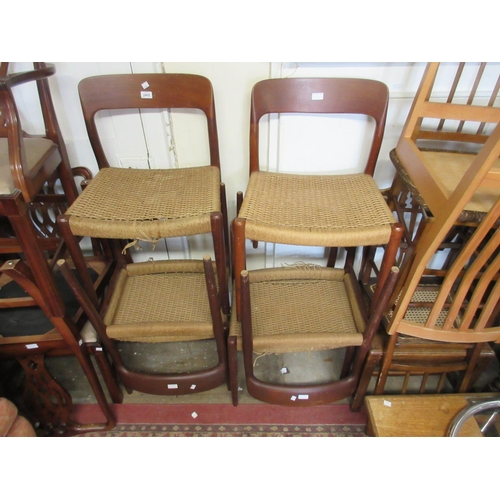 2468 - Set of six teak 1960's Danish rail back dining chairs on circular tapering supports (at fault)...