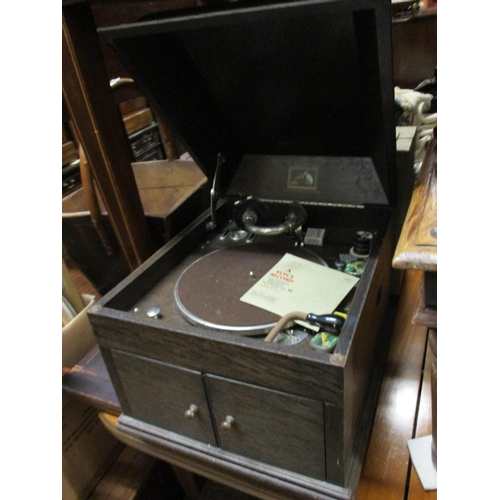 2470 - Early 20th Century ' His Master's Voice ' oak cased table top gramophone together with a quantity of...