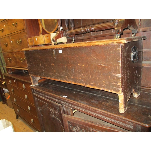 2476 - Antique pine plank coffer with a hinged cover...