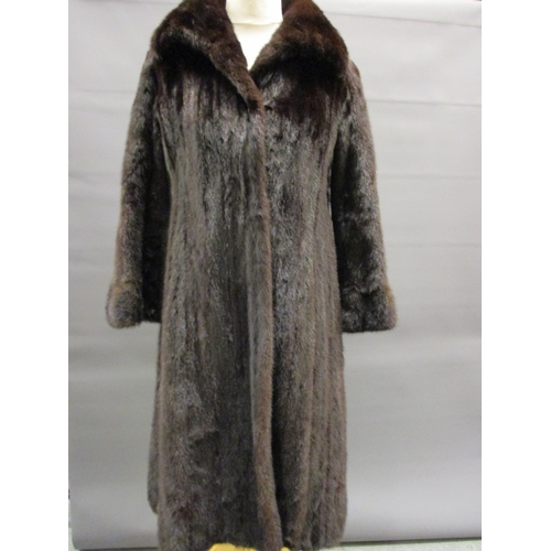 27 - Ladies dark brown three quarter length fur coat...