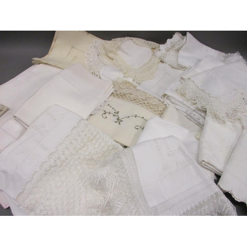 31 - Large quantity of lace, crochet and damask table linen...