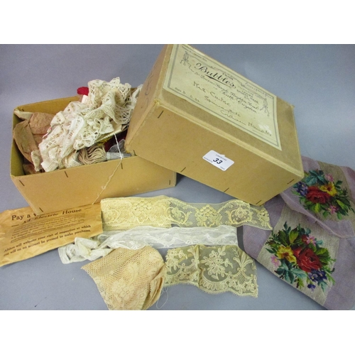 33 - Small quantity of needlepoint and lace work...
