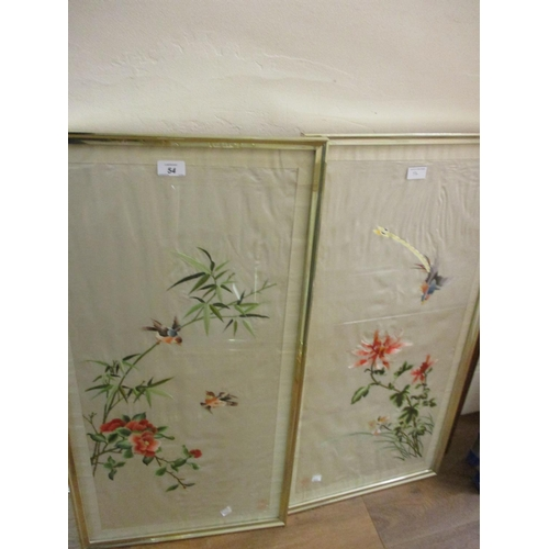 54 - Pair of 20th Century Chinese silkwork pictures decorated with birds and flowers, 30ins x 15ins each...