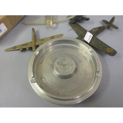 65 - Aluminium ashtray made from a Rolls Royce Merlin engine piston, together with three wooden World War...
