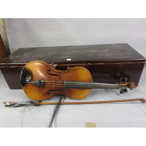 82 - German made violin with two piece 14in back, bow (at fault) and mahogany case...