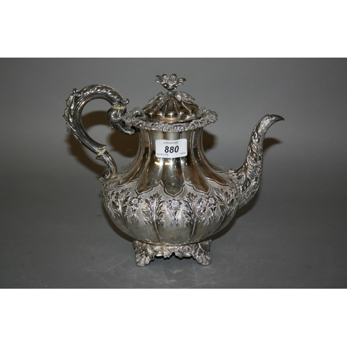 880 - Late George IV silver teapot of floral and fluted design, London 1829, maker Edward John and William...
