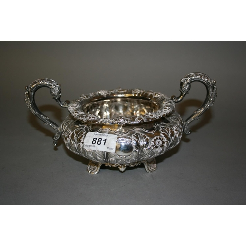 881 - Late George IV Dublin silver two handled sugar basin, 1828, makers mark I.F....