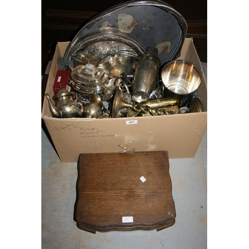 883 - One box containing a quantity of various silver plated items including entree dishes, teaset, cockta...
