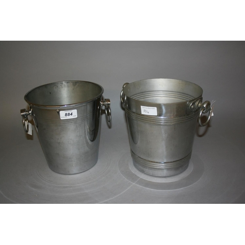884 - Two silver plated champagne coolers...