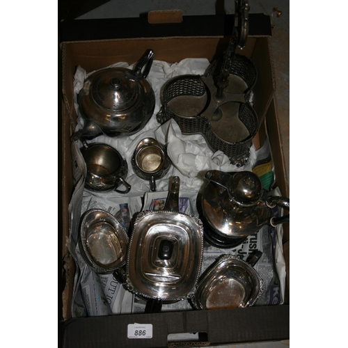 886 - Three piece silver plated teaset and another plated three piece tea set, decanter stand (lacking bot...