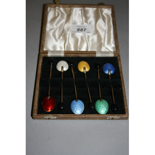 887 - Set of six Birmingham silver gilt and enamel decorated coffee bean handled spoons, in fitted box...