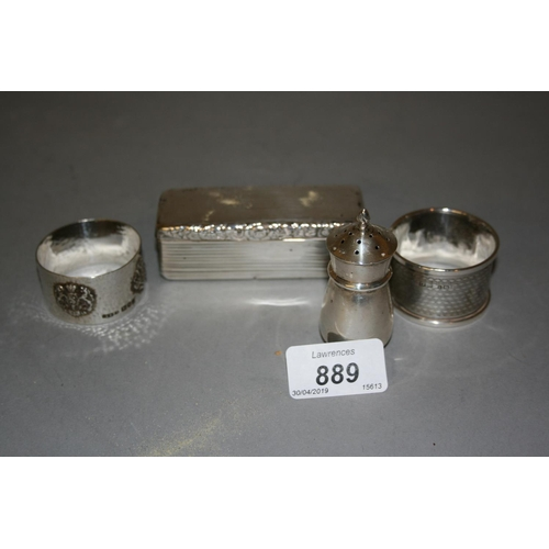889 - William IV London silver snuff box together with two silver napkin rings and a silver pepper...