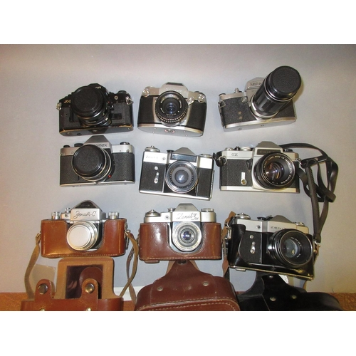 89 - Canon A1 35mm camera, a Rolleiflex SL35, Zenit-E and six other various 35mm cameras...