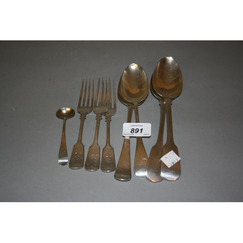 891 - Pair of William IV silver Fiddle pattern tablespoons together with three Fiddle pattern dessert fork...