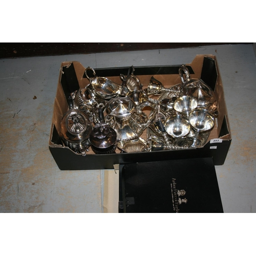 893 - Silver plated four piece tea service together with a quantity of other miscellaneous items of silver...