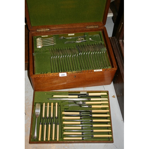 898 - Oak cased part canteen of silver plated Old English pattern cutlery...