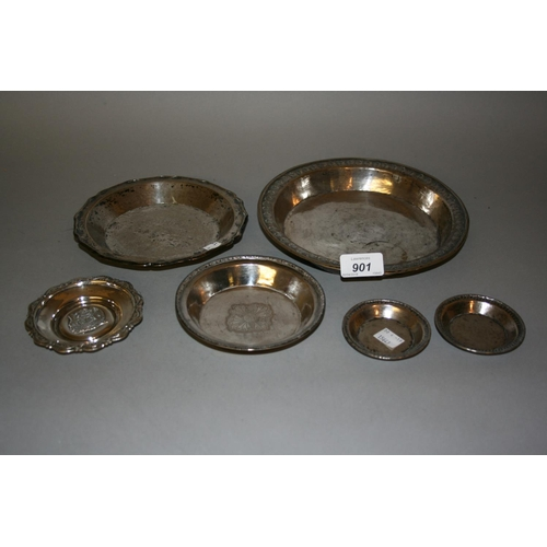 901 - Group of six various South American white metal dishes...