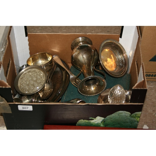 907 - Box containing a quantity of various silver plated items including some flatware...