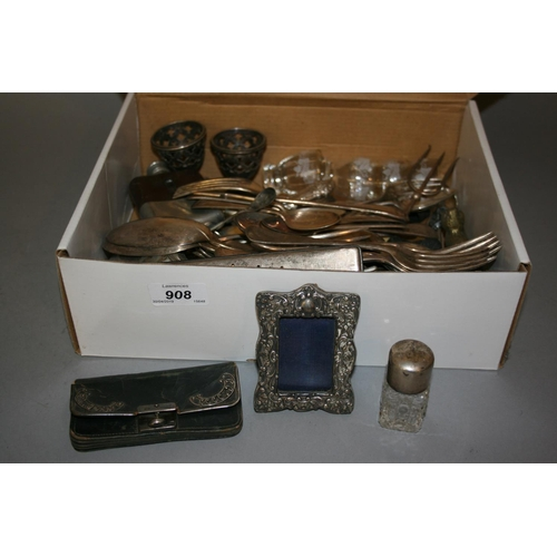 908 - Small silver mounted frame, silver mounted purse, silver and cut glass smelling salt bottle, togethe...