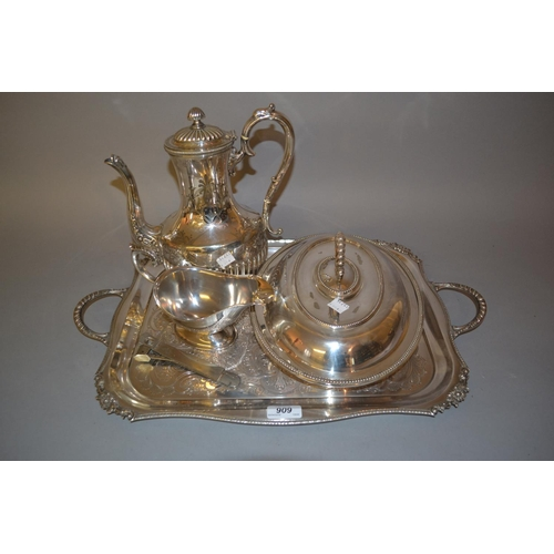 909 - Silver plated coffee pot, entree dish and other miscellaneous plated items...