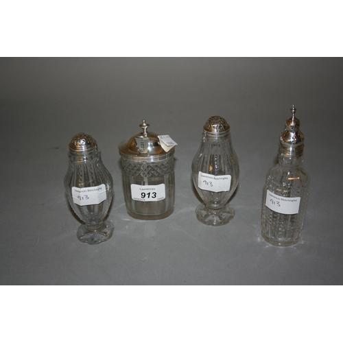 913 - Georgian cut glass silver mounted mustard with spoon, pair of antique silver mounted cut glass pedes...