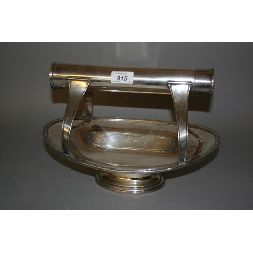 915 - 20th Century Masonic oval silver fruit bowl, the handle formed as a scroll holder, presented to Thom...