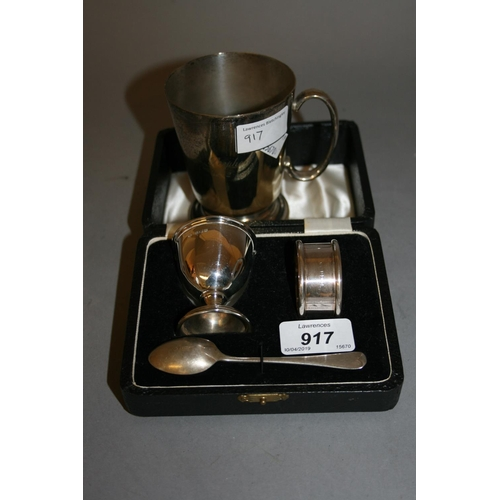 917 - Birmingham silver cased three piece Christening set, together with a silver plated Christening mug...