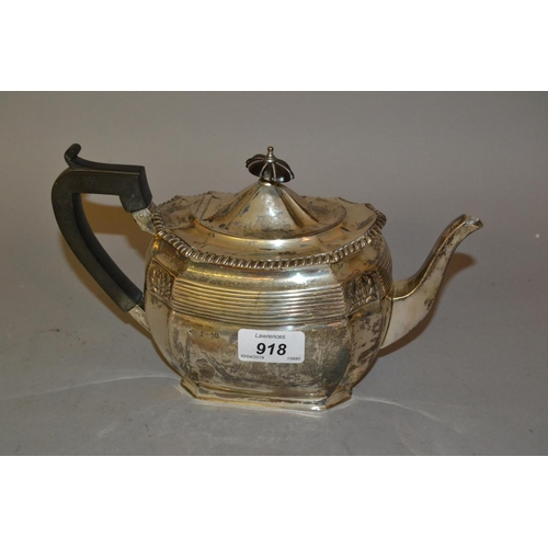 918 - Sheffield silver teapot of oval baluster form...