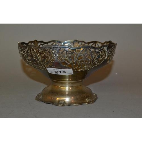 919 - Birmingham silver pedestal bowl with pierced floral decoration...