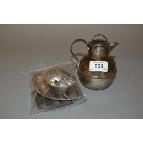 920 - Silver Jersey milk can, tea strainer, ashtray, oval dish and miniature bowl...