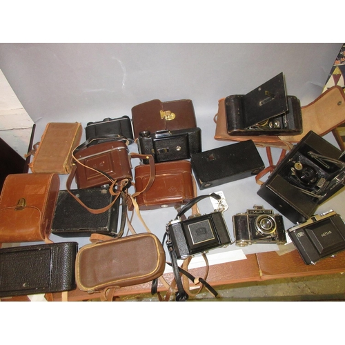 98 - Two large Ensign folding cameras and twelve other various folding cameras...
