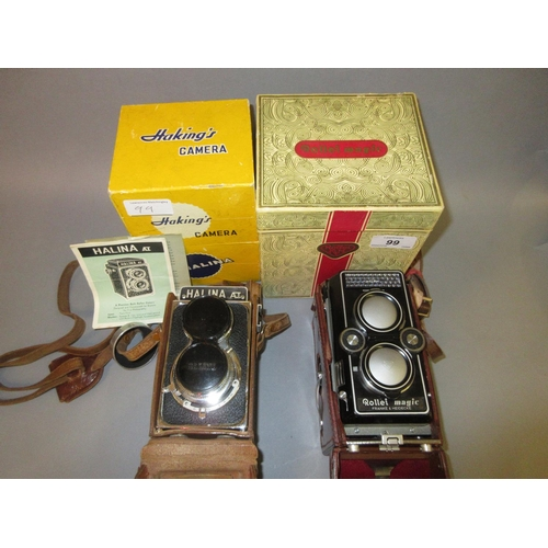 99 - Rollei Magic twin lens camera in original box, Haking's Halina twin lens camera in original box...