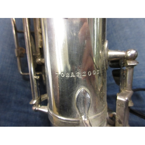 122 - Silver plated saxophone inscribed to the bell Rene Guenot, A Douchet and Cie, 35 Rue Claval, Paris, ...