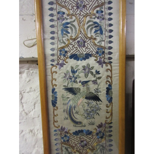 29 - Pair of Chinese silk and gold threadwork embroidered framed sleeve panels...