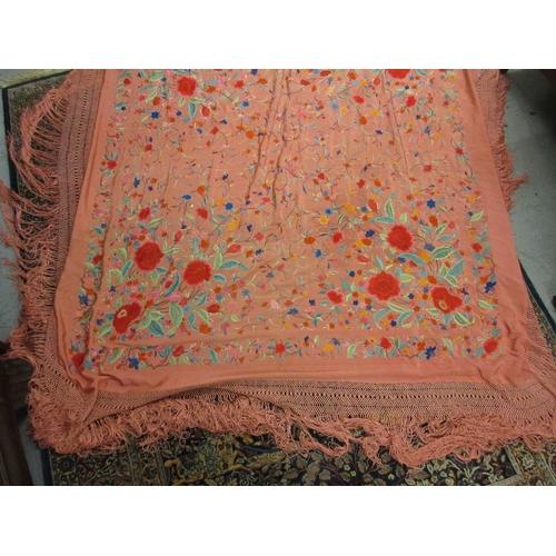 38 - Oriental pink silkwork floral embroidered shawl...