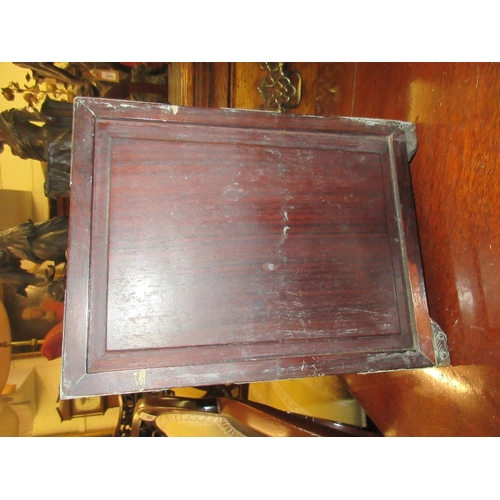 1902 - Small early 20th Century Chinese brass mounted hardwood table cabinet with a single door inscribed t...