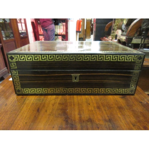 2397 - 19th Century coromandel and cut brass inlaid jewellery box decorated with key pattern design, the fi...