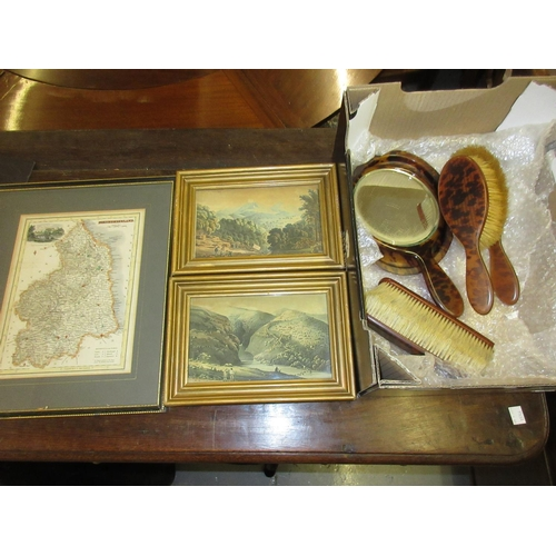 100 - Simulated tortoiseshell dressing table set, small hand coloured map of Northumberland and a pair of ...