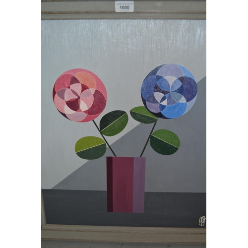 1000 - Etienne Biscarel, oil on canvas, geometric style study of two flowers in a vase, signed, 22ins x 18i...