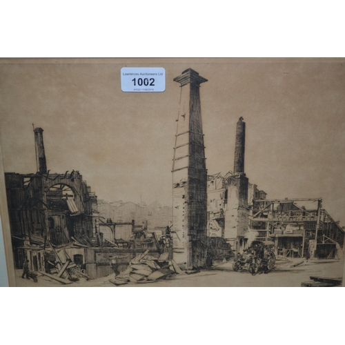 1002 - William R. Hay, a group of three signed etchings together with a small gilt framed mirror...