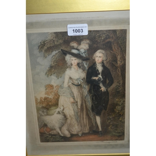 1003 - Late 18th or early 19th Century mezzotint portrait of a lady and gentleman after Gainsborough, toget...