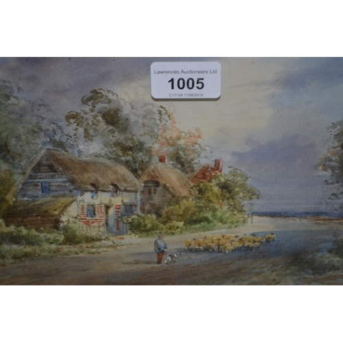 1005 - L. Watts, 19th Century watercolour, shepherd and flock before thatched cottages, signed, 7ins x 10.5...