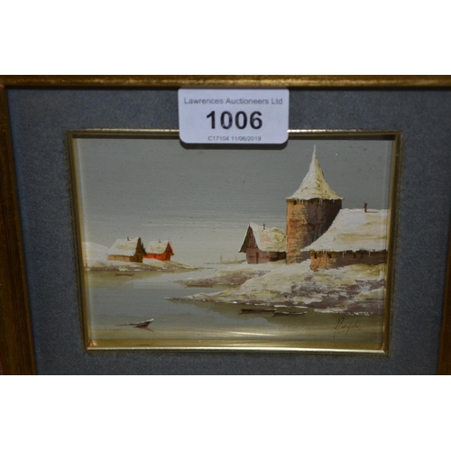 1006 - Small gilt framed oil on metal panel, winter river landscape with buildings, signed indistinctly, 3....