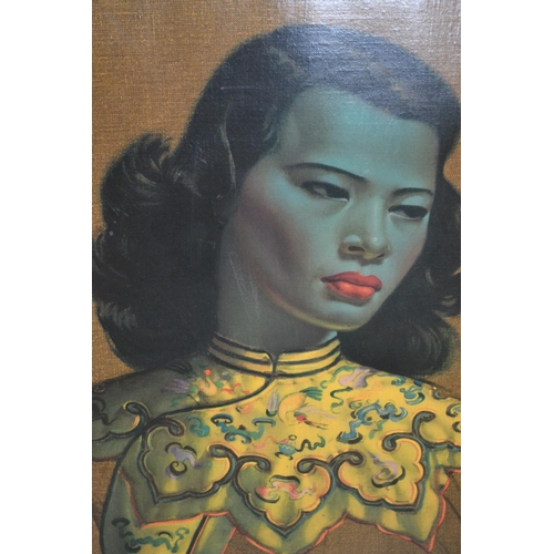 1007 - Mid 20th Century coloured print on canvas, after Tretchikoff, Chinese girl, 23ins x 19ins, framed...